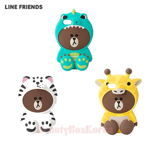 LINE FRIENDS Wannabe Brown Silicone Bumper Phone Case 1ea,LINE FRIENDS,Beauty Box Korea