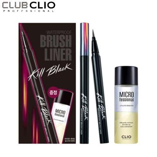 CLIO Waterproof Brush Liner Kill Black 0.55ml + Lip & Eye Remover Set [2016 Holiday Collection], CLIO