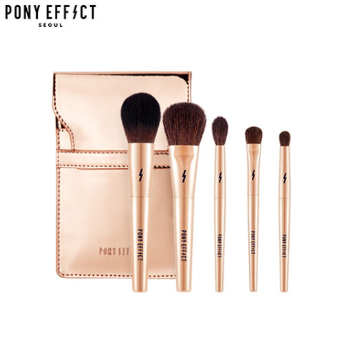 PONY EFFECT Mini Makeup Brush Set 5ea + Pouch 1ea [Travel Size Makeup Brush Set], PONY EFFECT