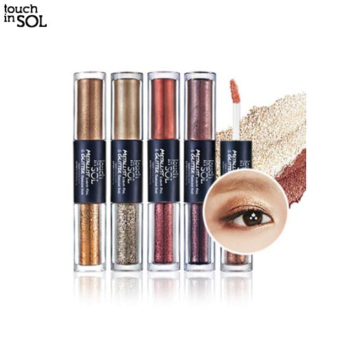 TOUCH IN SOL Metallist Liquid Foil & Glitter Eye Shadow Duo 2.21ml+2g,TOUCH IN SOL,Beauty Box Korea