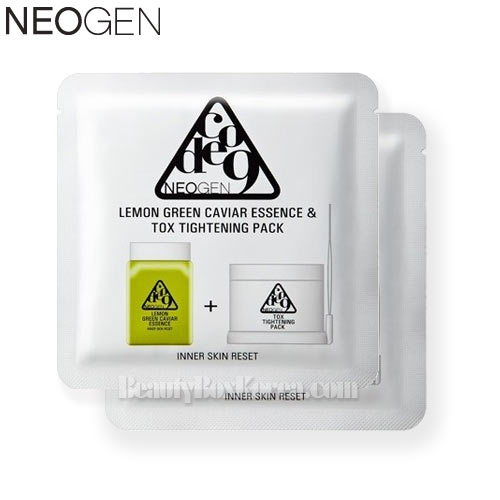 NEOGEN Code9 Lemon Green Caviar Essence & Tox Tightening Pack 9.5ml *2ea,NEOGEN,Beauty Box Korea