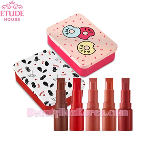 ETUDE HOUSE Mini Two Match 2.4g*3ea + Sliding Tin Case 1ea Set [Nuts & Fruits Collection],Beauty Box Korea