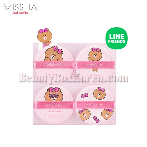 MISSHA Tension Pact Puff Fitting 4ea[LINE FRIENDS Edition]