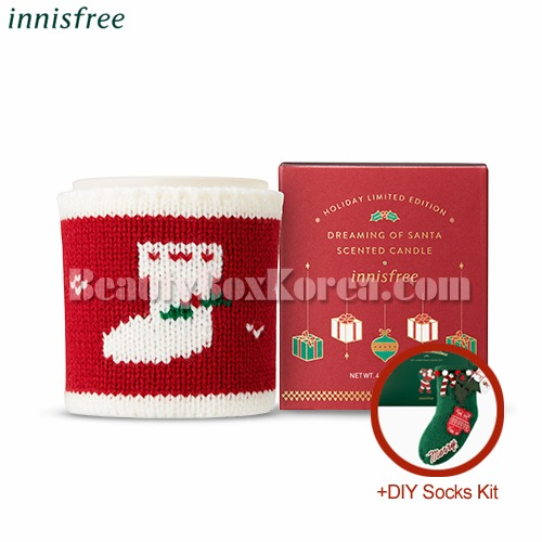 INNISFREE Scented Candle Dreaming Of Santa 130g+DIY Socks Kit[2018 Green Christmas Limited Edition]