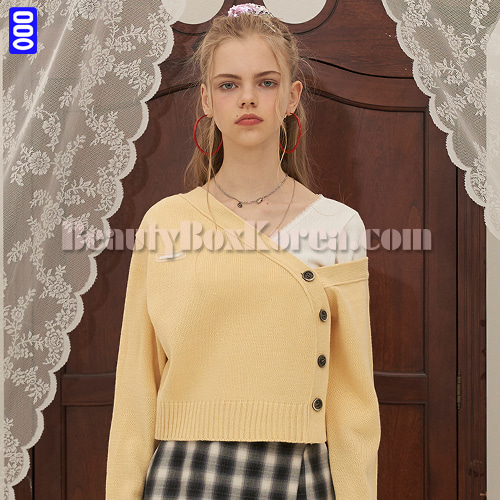 ODD ONE OUT Two Way Knit Cardigan Yellow 1ea