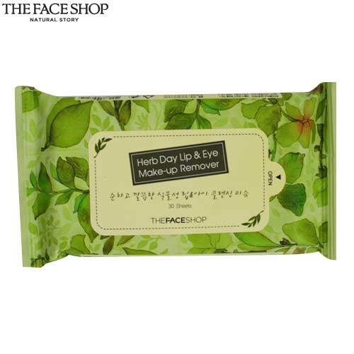 THE FACE SHOP Herb Day Lip Eye Makeup Remover Tissue 30sheets,THE FACE ...
