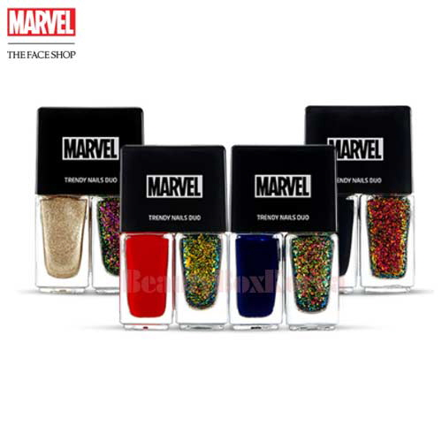 THE FACE SHOP Trendy Nails Duo 4ml*2 [Marvel Collaboration]