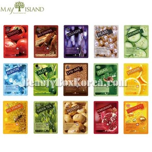 MAY ISLAND Real Essence Mask Pack 25ml*10sheets,MAYISLAND,Beauty Box Korea