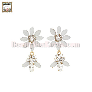 STRAWBERRY SHERBET Renaissance White Opal Flower Earrings 1pair