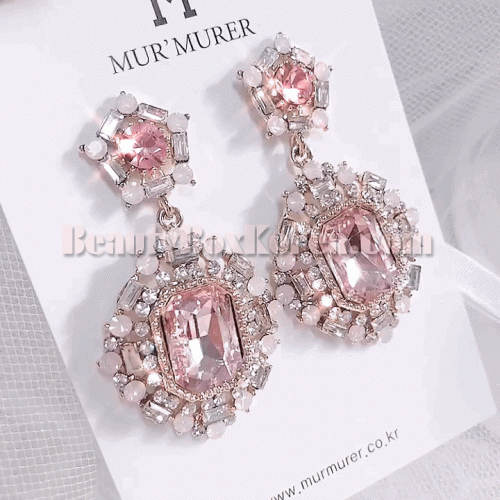 MUR'MURER Feminine Pink Cubic Bold Earrings 1pair