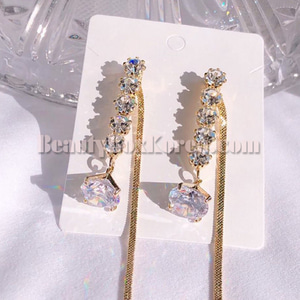 BLING STAR Cubic Two Way Long Drop Earrings 1pair