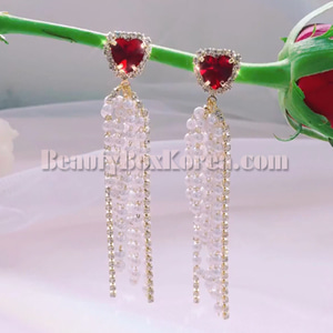 BLING STAR Cubic Heart Pearl Drop Earrings 1ea
