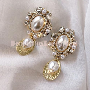 BLING STAR Cubic Pearl Drop Earrings 1pair