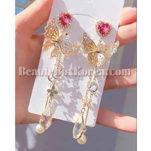 BLING STAR Cubic Heart Butterfly Drop Earrings 1pair