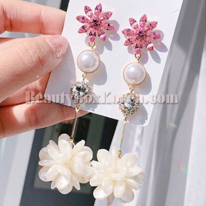 BLING STAR Pink Flower Pearl Drop Earrings 1pair