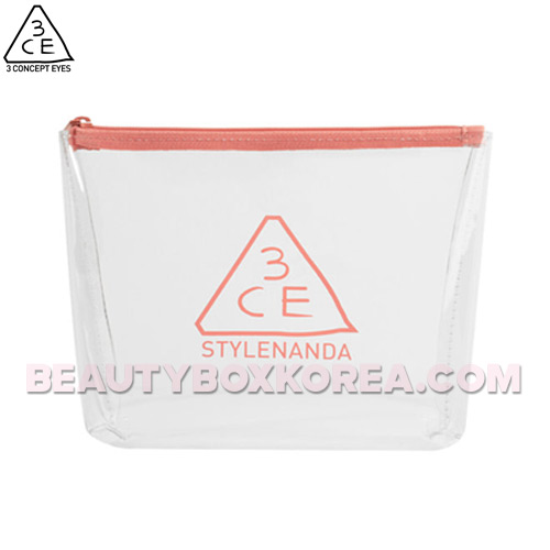 3CE Clear Trapeze Pouch #PINK BEIGE 1ea