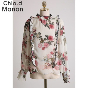 CHLO.D MANON Frilled Detail Rose Print Blouse 1ea
