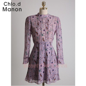 CHLO.D MANON Geometric Print Pintuck Bodice Dress 1ea