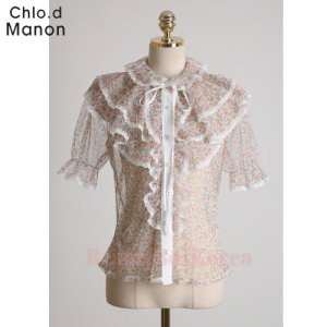 CHLO.D MANON Lace Time Ruffled Sheer Blouse 1ea