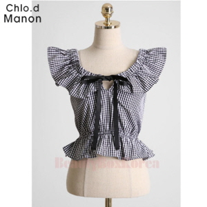 CHLO.D MANON Ribbon Accent Check Blouse 1ea