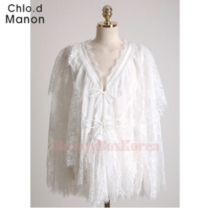 CHOL.D MANON Self-Tie Fastening Floral Mesh Lace Cape Cardigan 1ea