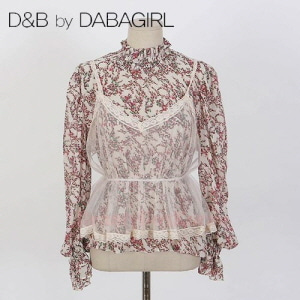 DABAGIRL Floral Blouse and Sheer Cami Top Set 1ea