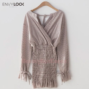 ENVYLOOK Frilled Hem Check Dress 1ea