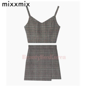 MIXXMIX Past Passion Line Check Bustier Skirt Set 1ea