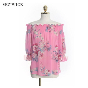 SEZ'WICK Spring Summer Floral Blouse 1ea