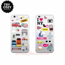 TRYCOZY 4 Items Travel Icon Jelly Phone Case,Beauty Box Korea