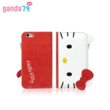 GANDA79 3Items Hello Kitty Face Wallet Phone Case