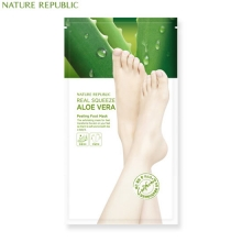 NATURE REPUBLIC REAL SQUEEZE ALOE VERA Peeling foot mask 25g*2, NATURE REPUBLIC