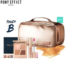 PONY EFFECT What's In Pony's Pouch Set C(Multi Pouch + Conceptual Eye Quad +  Favorite Fluid Lip Tint), PONY EFFECT