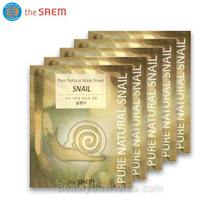 THE SAEM Snail Pure Natural Mask Sheet 20ml*5ea ,Beauty Box Korea