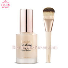 ETUDE HOUSE Double Lasting Serum Foundation 30ml &Glow Master Brush Set,Beauty Box Korea
