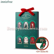 INNISFREE Perfumed Handcream Miniature Set 20ml*6ea+DIY Socks Kit[2018 Green Christmas Limited Edition]