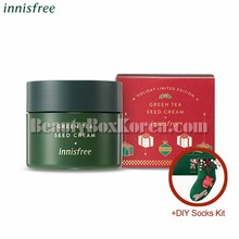 INNISFREE Green Tea Seed Cream 100ml+DIY Socks Kit[2018 Green Christmas Limited Edition]