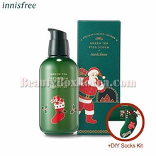 INNISFREE Green Tea Seed Serum 160ml+DIY Socks Kit[2018 Green Christmas Limited Edition]