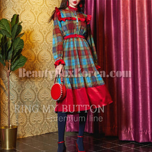 RING MY BUTTON Mori Colorful Check One Piece 1ea