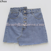 CHUU Unique Unbalanced Raw Hem Denim Skirt 1ea