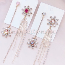 BLING STAR Swarovski Flower Cubic Unbalance Pearl Drop Earrings 1pair