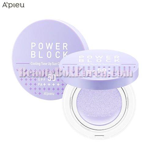 A'PIEU Power Block Cooling Tone Up Sun Cushion SPF50+ PA++++ 14g