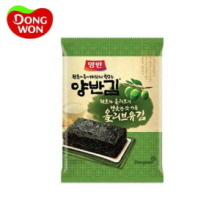 DONGWON Olive Oil Seasoned Laver Packs, 20g X 3, DONGWON