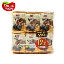 DONGWON Sesame Oil Seasoned Laver 12 Packs , 5g x 12, DONGWON