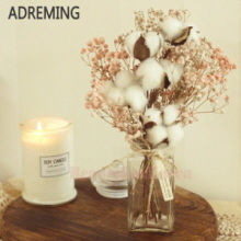 ADREMING Cotton Plant & Gypsophila Vase 1ea