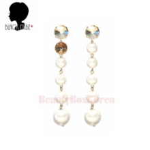 BLACKMUSE Unbalance Crystal And Pearl Drop Earrings 1pair