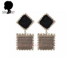 BLACKMUSE Velvet Glen Check Square Drop Earrings 1pair