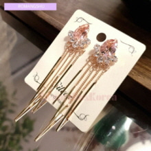 ROMANGSHU Titanium Pink Chain Drop Earrings 1pair