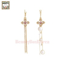STRAWBERRY SHERBET Stand By You Cross Pink Unbalance Long Drop Earrings 1pair