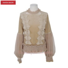 STYLE NANDA Mesh Sleeve Overlay Lace Crocheted Accent Blouse 1ea